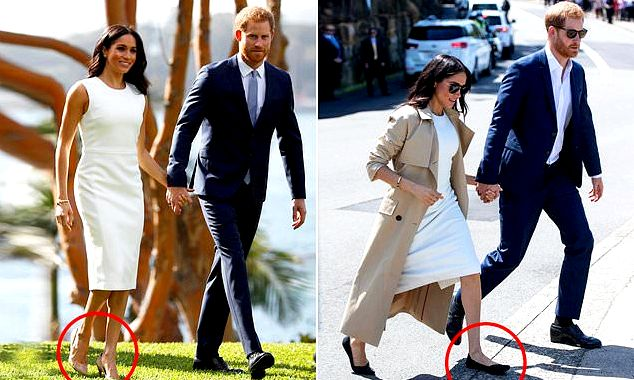 Meghan markle, eight several weeks pregnant, walking in four-inch heels to get DMs